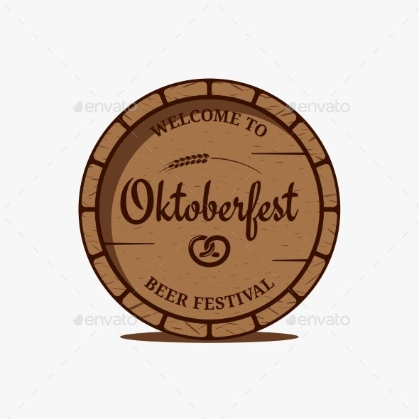 Oktoberfest Beer Barrel Logo on White Background - Miscellaneous Seasons/Holidays