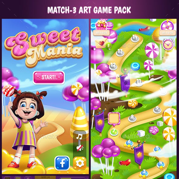 Candy Match 3 Full Game Art Pack