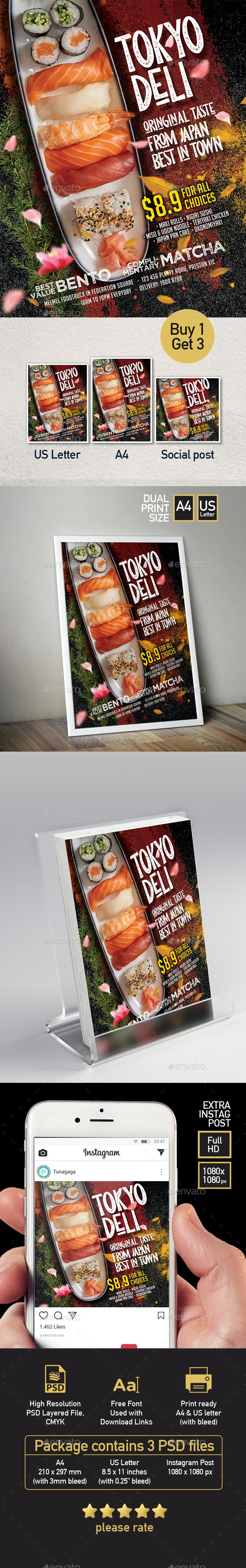 Japanese Sushi Sashimi Restaurant Menu Flyer  - Set of 3 Templates - Restaurant Flyers