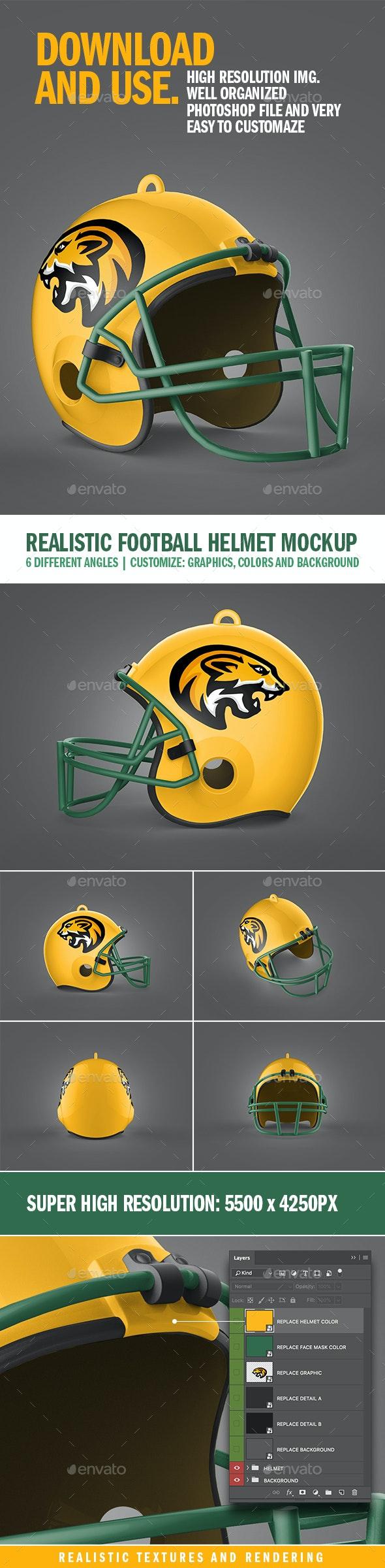 Realistic Football Helmet Mockup - Product Mock-Ups Graphics