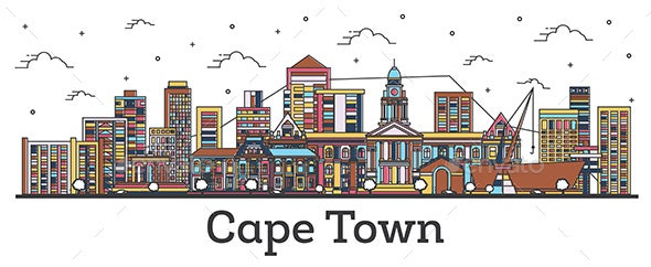 Outline Cape Town South Africa City Skyline with Color Buildings - Buildings Objects