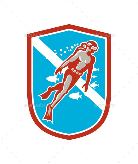 Scuba Diver Diving Going Up Shield Retro - People Characters