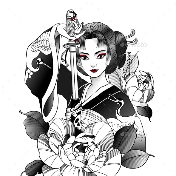 Japanese Geisha with Sword in Hand