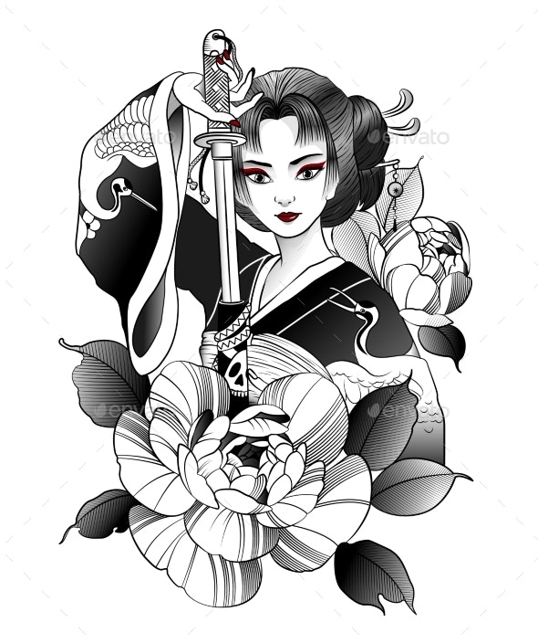 Japanese Geisha with Sword in Hand - Miscellaneous Vectors