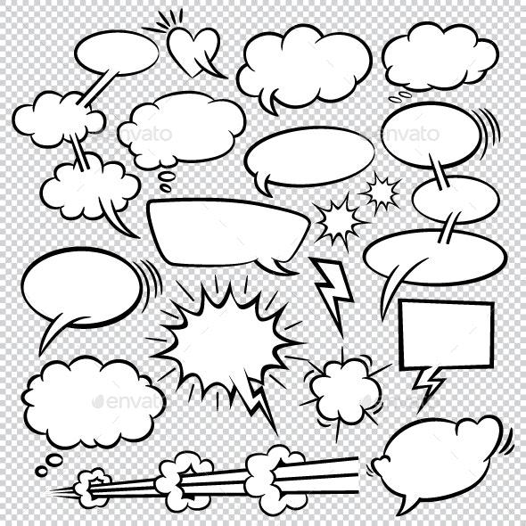 Comic Bubbles Icons Collection - Decorative Symbols Decorative