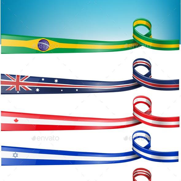 10 Background Flag Set Vector Illustration