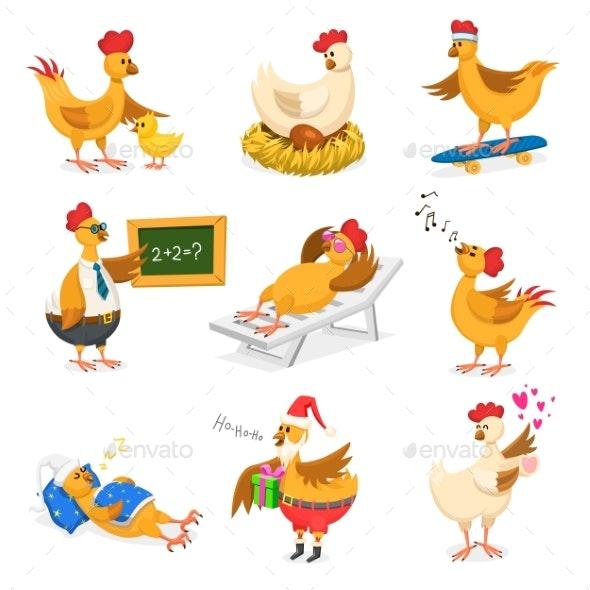 Chicken Vector Cartoons - Animals Characters