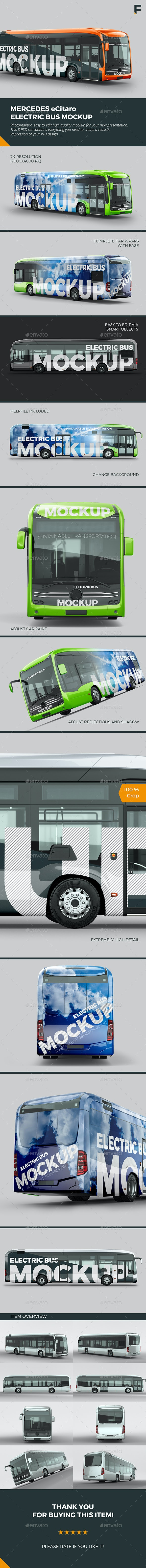 Electric Bus Mockup - Vehicle Wraps Print