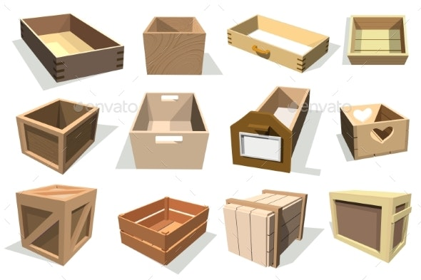 Box Package Vector Wooden Empty Drawers and Packed - Man-made Objects Objects