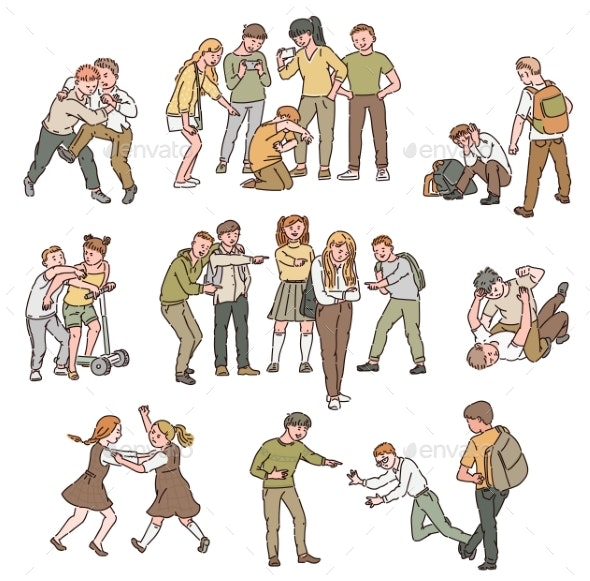 A Set of Situations of Conflict and Fights - People Characters