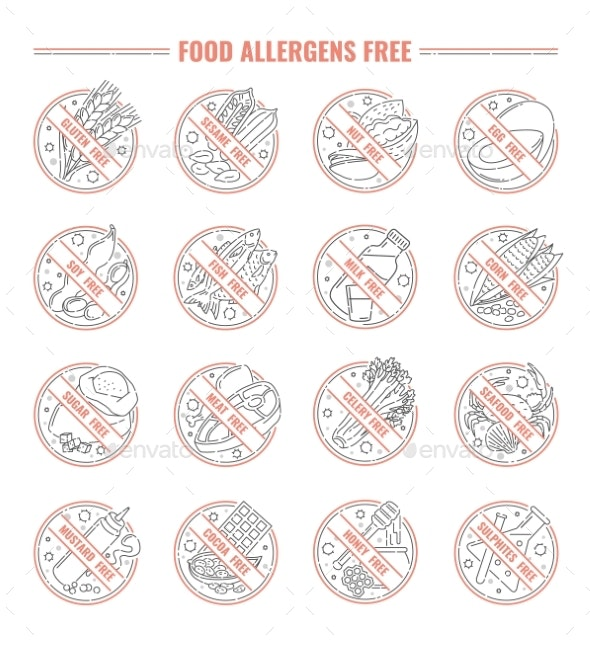 Food Allergen Label Set Isolated on White - Miscellaneous Vectors
