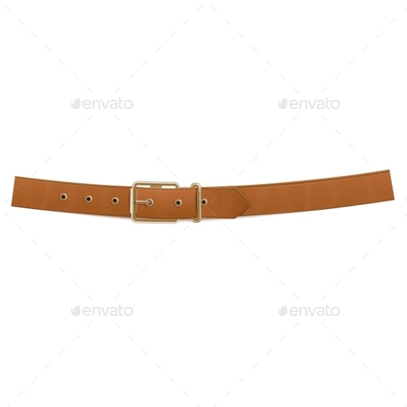 Realistic Brown Buttoned Trouser Leather Belt - Man-made Objects Objects