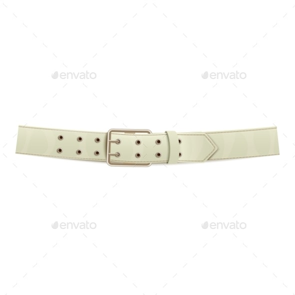 Realistic White Trouser Leather Belt - Man-made Objects Objects