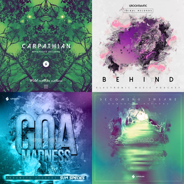 Electronic Music Album Cover Artwork Templates Bundle 11