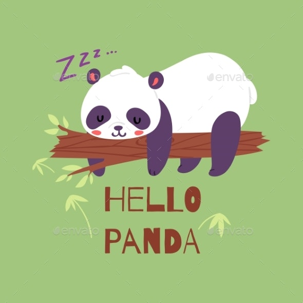 Panda Bear Sleeping on Tree Branch Banner Vector - Animals Characters