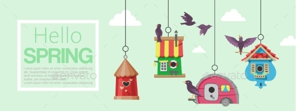 Birdhouses with Flying Birds Banner Vector - Animals Characters