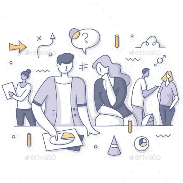 Teamwork and Strategy Brainstorming Concept