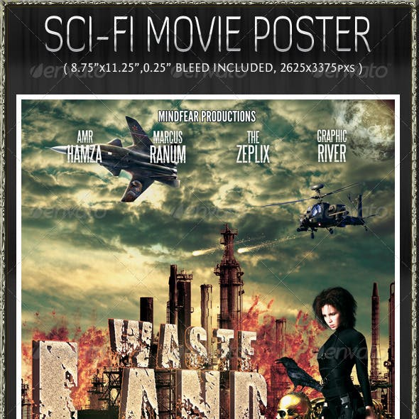 WasteLand action sci-fi poster template