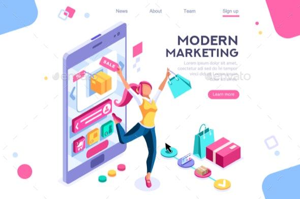 Graphic Consumerism Concept - Web Technology