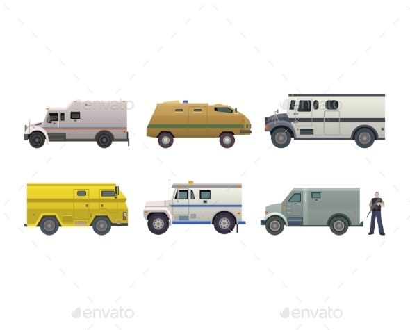 Armored Money Carrier Vehicle Vector Bank Van - Man-made Objects Objects