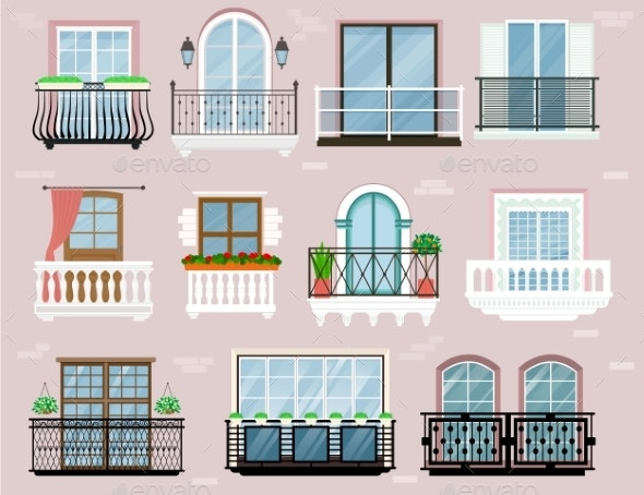 Balcony Vector Vintage Balconied Railing Windows - Man-made Objects Objects