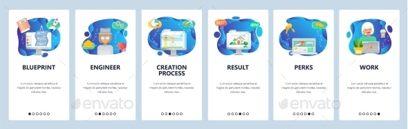 Website and Mobile App Onboarding Screens Vector - Computers Technology