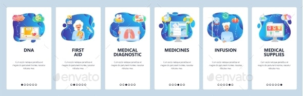 Website and Mobile App Onboarding Screens Vector - Health/Medicine Conceptual