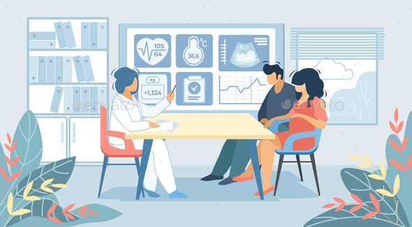 Man and Pregnant Woman Sitting at Doctor Cabinet - Health/Medicine Conceptual