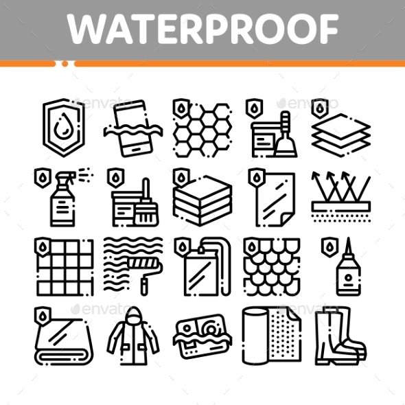 Waterproof Materials Vector Thin Line Icons Set - Miscellaneous Vectors