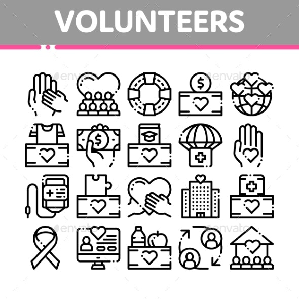 Volunteers Support Vector Thin Line Icons Set - Miscellaneous Vectors