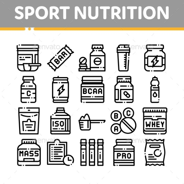 Sport Nutrition Cells Vector Thin Line Icons Set - Food Objects