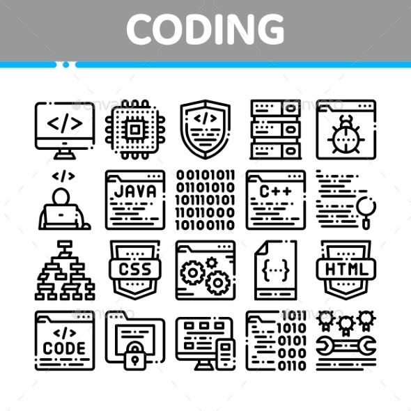 Coding System Vector Thin Line Icons Set - Computers Technology