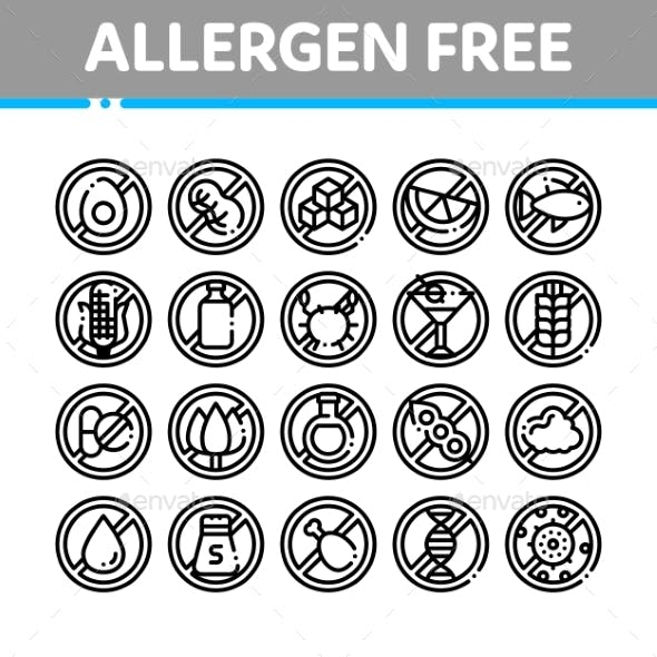 Allergen Free Products Vector Thin Line Icons Set