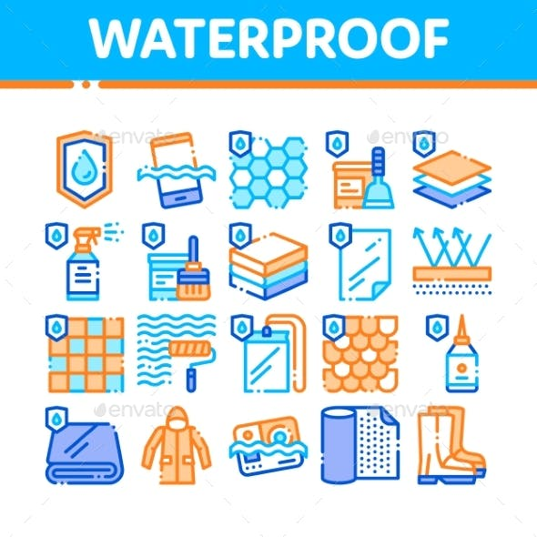 Waterproof Materials Vector Thin Line Icons Set