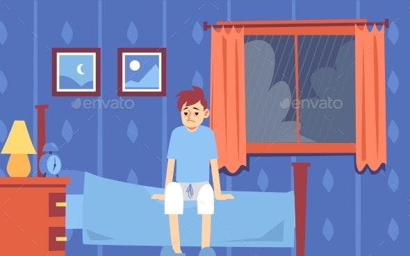 Sad Sleepy Man Woke Up in the Bedroom - People Characters