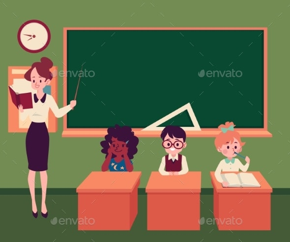 Teacher Conducts a Lesson in a Classroom - Miscellaneous Vectors