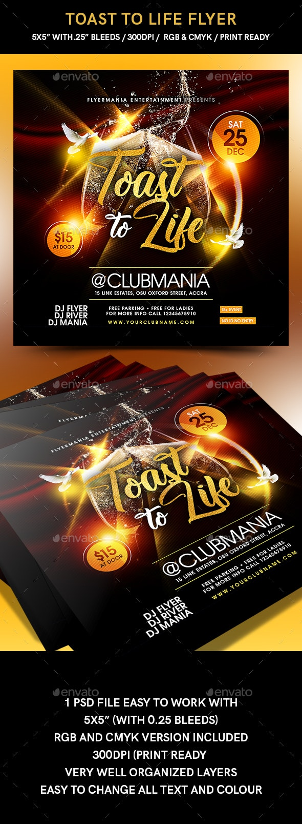 Toast to Life Flyer - Events Flyers