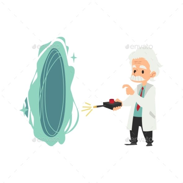 Old Scientist Stands Holding Remote Control