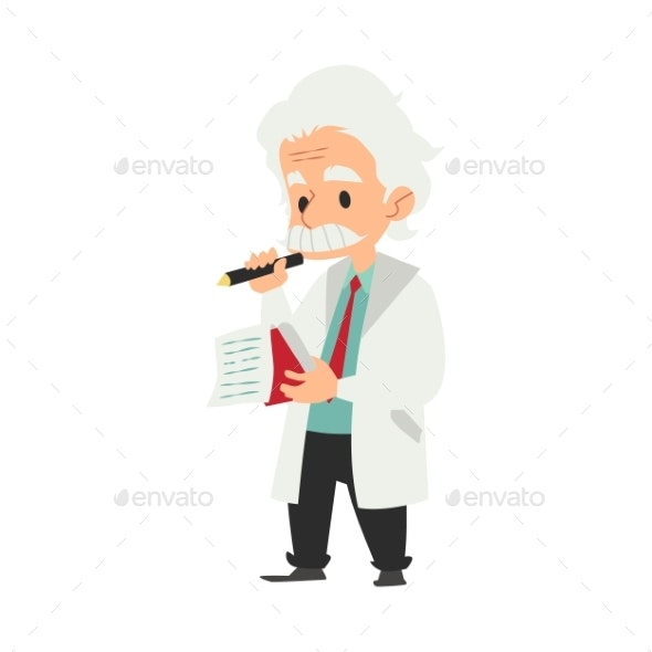 Professor or Scientist Writing Idea in a Notebook - People Characters