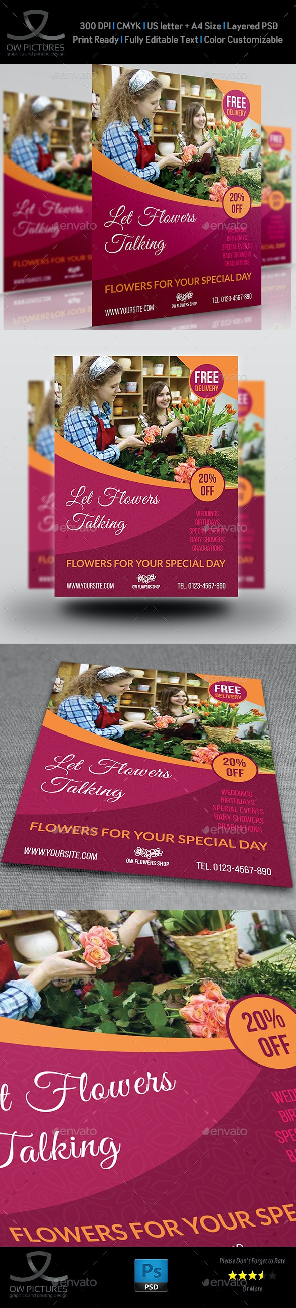 Flower Shop Flyer Template Vol.2 - Flyers Print Templates