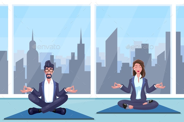Man and Woman Meditates - Sports/Activity Conceptual