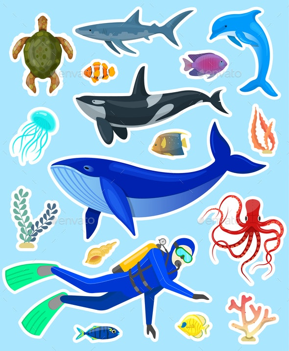 Stickers with Ocean Animals - Animals Characters