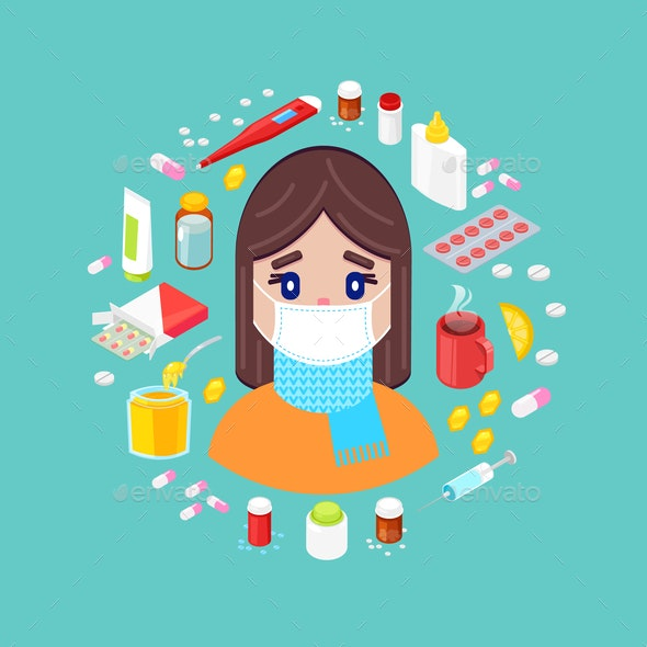 Sick Girl with Different Drugs - People Characters