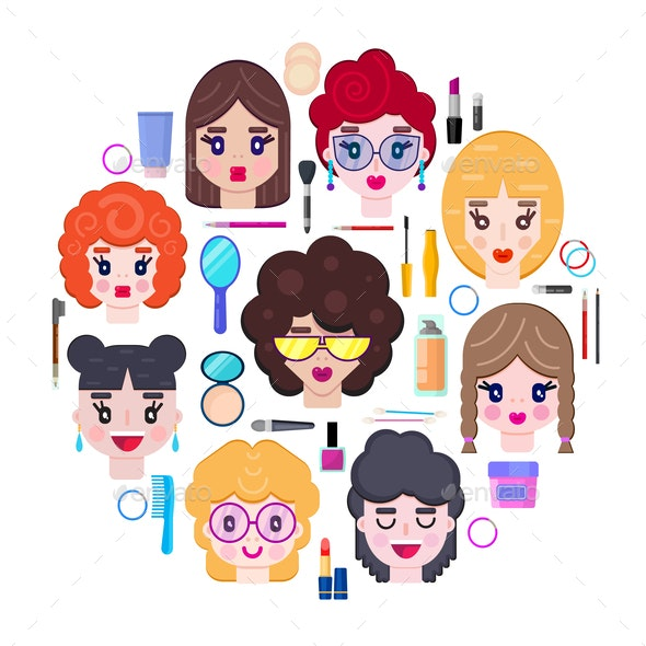Girls Faces and Cosmetics - People Characters