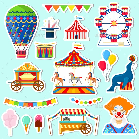 Stickers of Circus and Amusement Elements - Industries Business