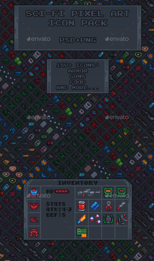 Sci-Fi Pixel Art Icon Pack - Miscellaneous Game Assets