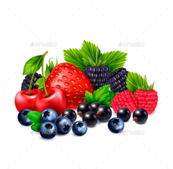 Bunch Of Berries Composition - Food Objects