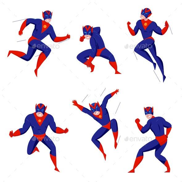 Superhero Action Poses Set - Miscellaneous Vectors
