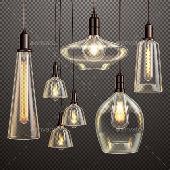 Light Bulbs Realistic Transparent - Miscellaneous Vectors