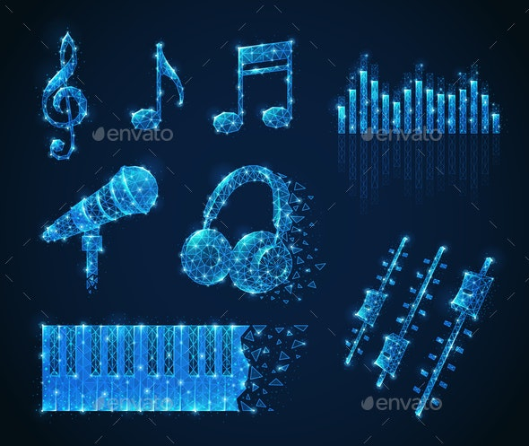 Music Media Polygonal Set - Media Technology